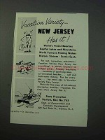 1953 New Jersey Tourism Ad - Vacation Variety