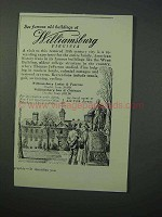 1953 Williamsburg Virginia Tourism Ad - Old Buildings
