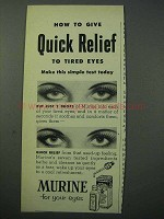 1953 Murine Eye Drops Ad - Quick Relief to Tired Eyes