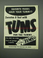 1953 Tums Tablets Ad - Favorite Foods Sour Your Tummy?