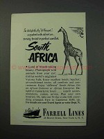 1952 Farrell Lines Cruise Ad - South Africa