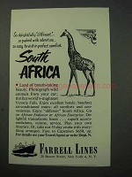 1951 Farrell Lines Cruise Ad - South Africa