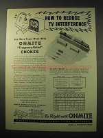 1950 Ohmite Frequency-Rated Chokes Ad - TV Interference