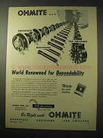 1950 Ohmite Rheostats, Resistors and Tap Switches Ad