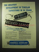 1950 Cornell-Dubilier Tubular Capacitors Ad