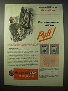 1950 Westinghouse CSP Transformers Ad - Emergency