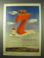 1950 Seagram's 7 Crown Whiskey Ad - Praised to Skies