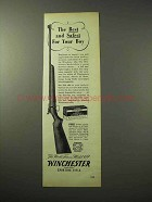 1950 Winchester Model 69 Rifle Ad - Safest for Your Boy