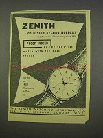 1955 Zenith Watch Ad - Precision Record Holders