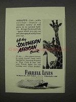1955 Farrell Lines Southern African Cruise Ad - Giraffe