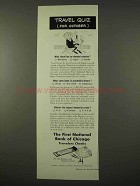 1954 First National Bank of Chicago Travelers Checks Ad