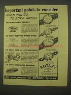1954 Rotary Commodore Fiancee Excellency Dawn Watch Ad
