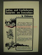 1954 Alabama Tourism Ad - Indian & Confederate