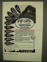 1954 Montana Tourism Ad - High Spots of a Vacation
