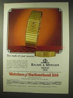 1982 Baume & Mercier Watch Ad - Mark of Success