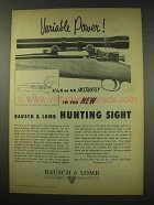 1949 Bausch & Lomb Variable Power Hunting Sight Advertisement
