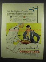 1957 Orient Line Cruise Ad - Duck Delighted at Colombo