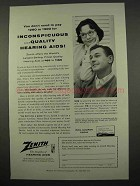 1957 Zenith Hearing Aids Ad - Inconspicuous