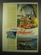 1956 Hawaii Tourism Ad - Easy To Reach Low In Cost