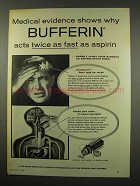 1956 Bufferin Tablets Ad - Acts Twice As Fast
