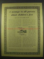 1956 Clarks Shoes Ad - Message About Children's Feet