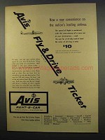 1956 Avis Rent-a-Car Ad - Fly & Drive Ticket