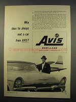 1956 Avis Rent-a-Car Ad - Why Does He Always Rent?