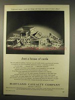 1956 Maryland Casualty Ad - Just a House of Cards