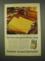 1956 Kraft Cracker Barrel Natural Cheddar Cheese Ad - Old-Time