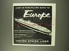 1956 United States Lines Cruise Ad - 5 Fun-Filled Days