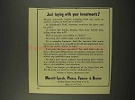 1956 Merrill Lynch Broker Ad - Toying With Investments