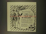 1956 KLM Airlines Ad - Tulip Time in Holland