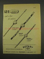 1956 Rotary Watch Ad - First Lady, Golden Hour