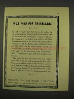 1956 Westminster Bank Limited Ad - Tale for Travellers