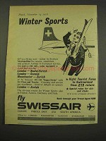 1956 SwissAir Airline Ad - Winter Sports