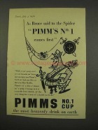 1956 Pimm's No. 1 Cup Ad - As Bruce Said to Spider