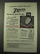 1949 Zenith Miniature Hearing Aid Ad - Truly New