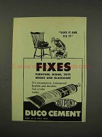 1949 Du Pont Duco Cement Ad - Fixes