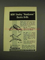 1949 Stanley No 04, No 012 Handyman Electric Drills Ad