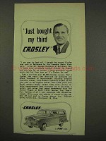 1949 Crosley Car Ad - Just Bought My Third