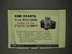 1949 Kine Exakta 35mm Reflex Camera Ad