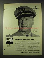 1948 United Air Lines Ad - Makes a Mainliner Tick