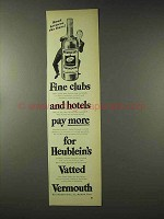 1948 Heublein's Vermouth Ad - Fine Clubs and Hotels