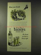 1948 Teacher's Highland Cream Scotch Ad