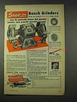1948 Snap-On Bench Grinder Ad - Powerful Operation