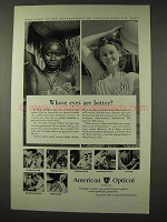 1948 American Optical Ad - Whose Eyes are Better?