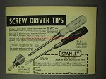 1948 Stanley No. 2702, No. 25, No. 1009 Screw Driver Ad