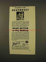 1948 Zenith 75 Radionic Hearing Aid Ad - Deafness?