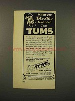 1948 Tums Antacid Ad - When You Take A Trip Take Heed