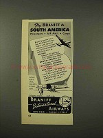 1948 Braniff Airways Ad - Fly to South America